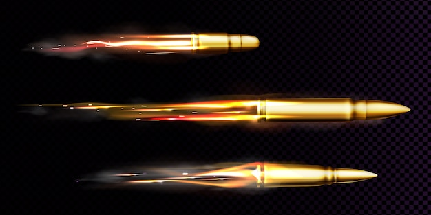 Flying bullets with fire and smoke traces. realistic set of fired bullets different calibers fired from weapon, gun or pistol with smoke trail isolated on transparent background