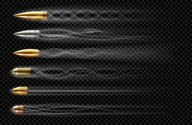 Flying bullets with smoke traces from gun shot. realistic set of bullets different calibers fired from weapon, revolver or pistol with smoke trail isolated on transparent background