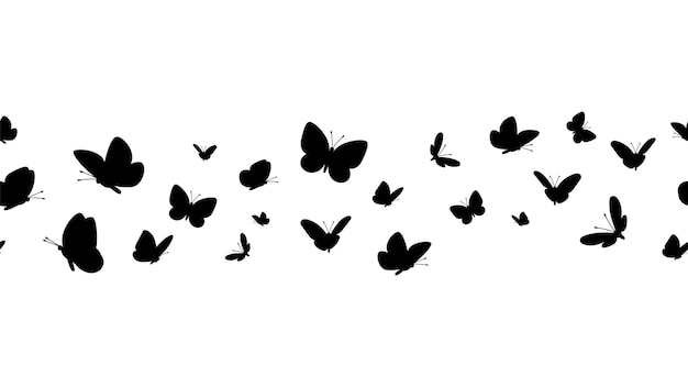 Flying butterflies silhouettes. butterfly seamless border.
