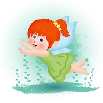 水彩風に飛んでいる蝶の妖精。