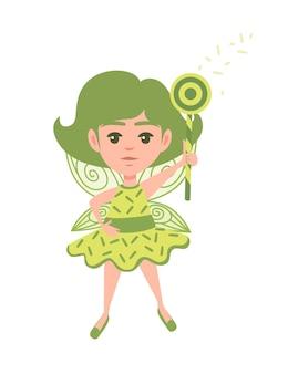 円の形の魔法の杖と緑の服の漫画のキャラクターを身に着けている空飛ぶ蝶の妖精