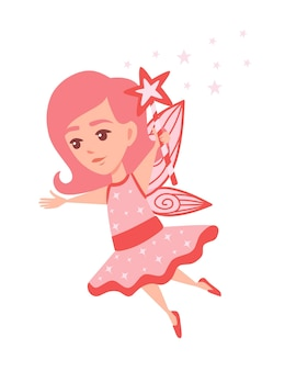 Flying butterfly fairy with star shape magic wand and wearing pink clothes cartoon character