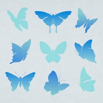 フライングバタフライステッカー、青いグラデーションフラットベクトル動物イラストセット