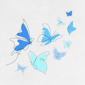 비행 나비 스티커, 블루 라인 아트 벡터 동물 그림 세트