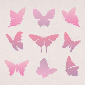 フライングバタフライステッカー、ピンクのグラデーションフラットベクトル動物イラストセット