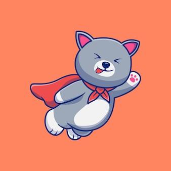 空飛ぶ猫のスーパーヒーロー漫画マスコットイラストデザインプレミアム孤立動物デザインコンセプト