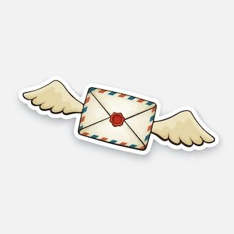 ワックスシール付きの空飛ぶ閉じたビンテージメール封筒受信メッセージを読んでいないベクトル図