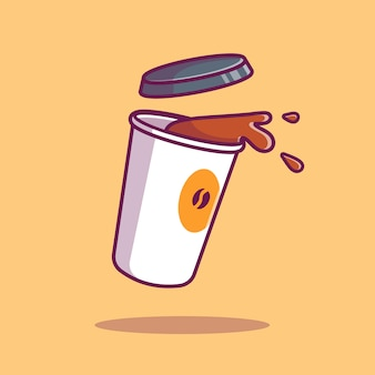 Flying coffee   icon illustration. coffee drink icon concept isolated  . flat cartoon style