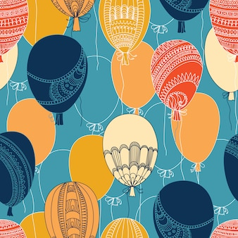 Flying colorful balloons pattern