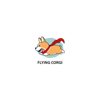 Flying corgi dog
