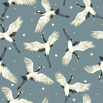 Flying crane seamless pattern