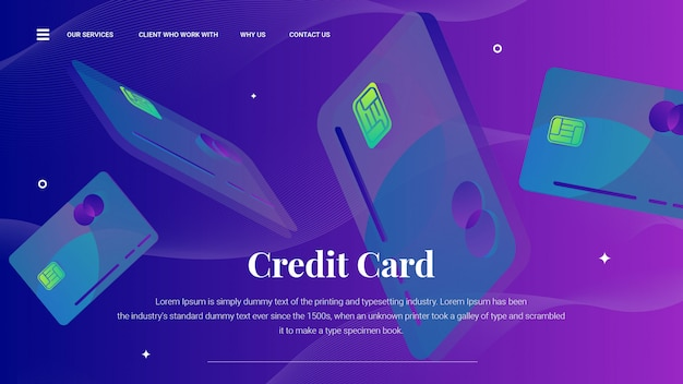 Flying credit card on landing page or web template