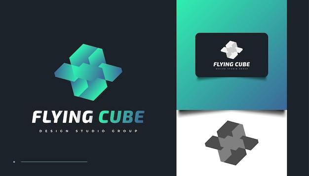 フライングキューブのロゴデザインテンプレート。 3dキュービックアイコンまたはシンボル