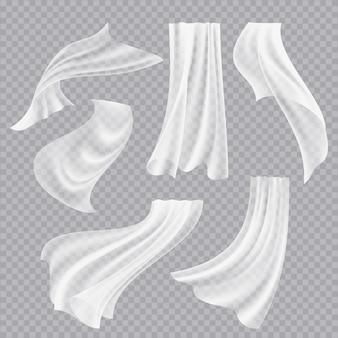 フライングカーテン。白い空白の服の透明な生地装飾的なねじれた流れるシルク