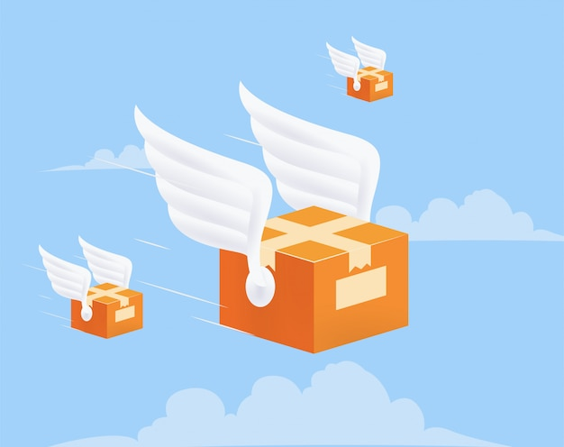 Flying delivery package box with wings on blue sky background. delivery service concept. illustration.