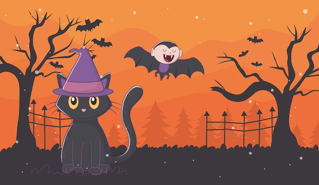 Flying dracula and cat with hat halloween