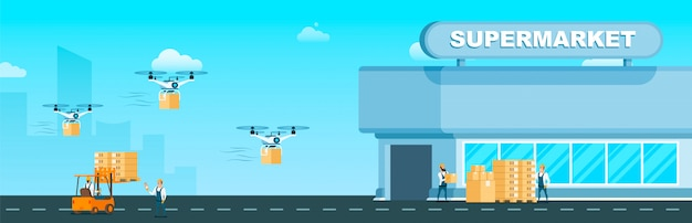 Flying drone air fast delivery to supermarket