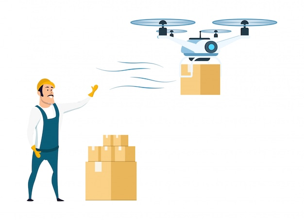 Flying drone delivery from storage or warehouse