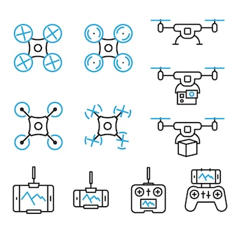 Flying drone flat line style icons bicolor on white background