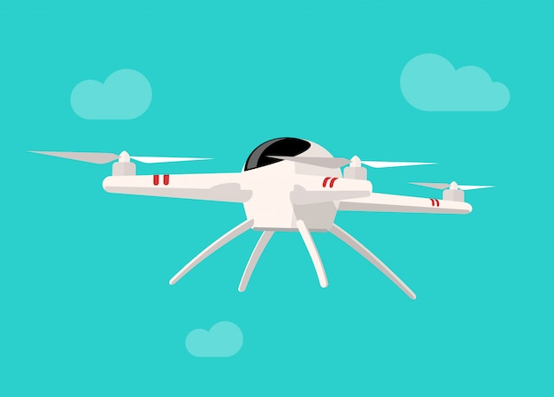 Flying drone isolated on blue sky background flat cartoon