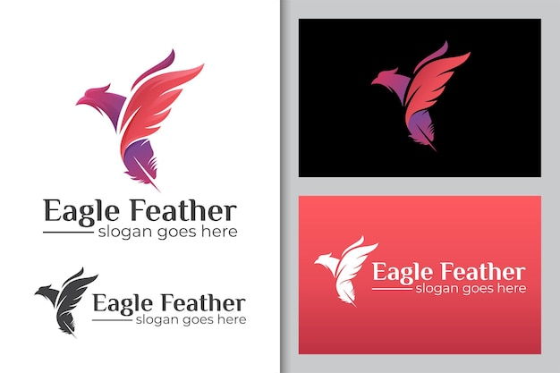 Flying eagle bird or phoenix combined feather ink logo icon illustration
