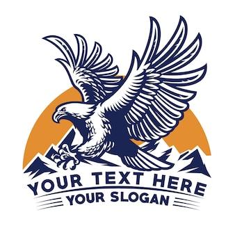 Flying eagle logo design in vintage style