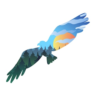 Flying eagle vector illustration. animal, bird silhouette with forest landscape, picturesque scenery