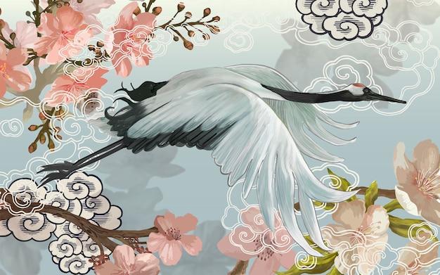 우아한 흰색 일본 크레인 비행