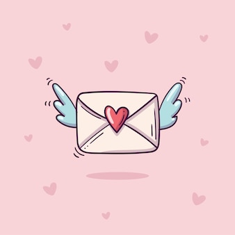 Flying envelope with heart stamp and wings in doodle style on pink background with hearts