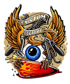 Flying eyeball retro design