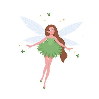 美しいドレスと白で隔離の長いブルネットの髪の空飛ぶ妖精