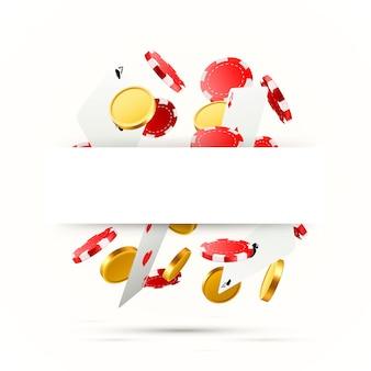 Летающие падающие покерные карты с игральными фишками и монетами. объекты казино на белом фоне. пустое место для текста. векторная иллюстрация