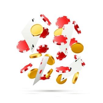 トランプとコインで落下するポーカーカードを飛ばします。白い背景の上のカジノオブジェクト。ベクトルイラスト