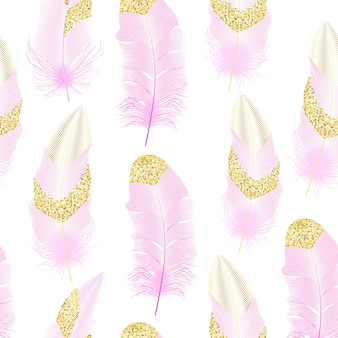 Flying feathers. falling twirled realistic.seamless pattern.