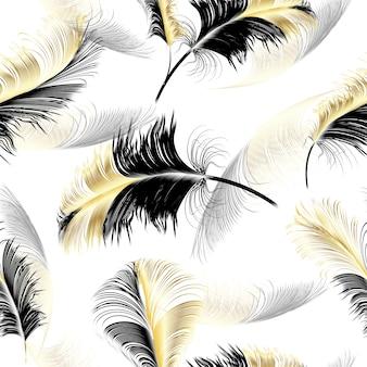 飛んでいる羽。落下がリアルに渦巻くシームレスなパターン。