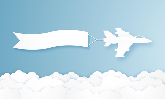 Flying fighter plane pulling advertising banner in paper art style