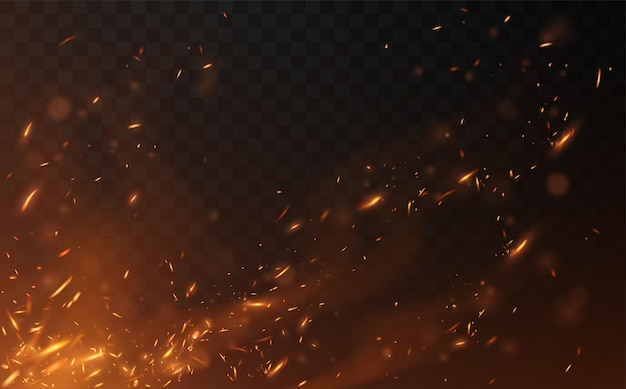 透明な上に飛んでいる火が火花を散らす