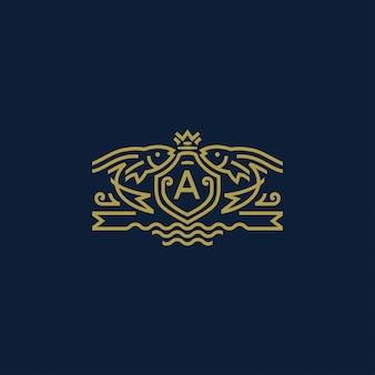 王冠ロゴ-モノラインスタイルの紋章付きトビウオ