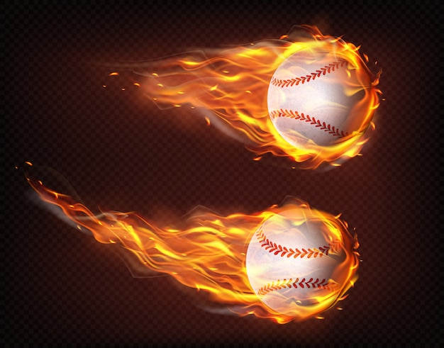 Flying in flames baseball balls realistic vector