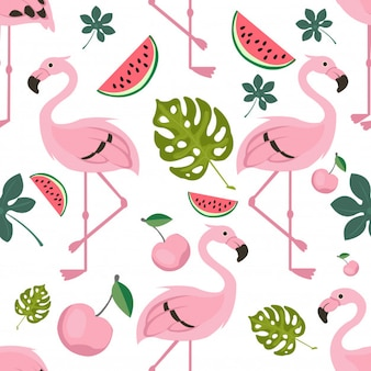 Flying flamingo pattern seamless vector with tropical icon