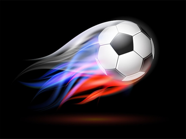 Flying football on fire. soccer ball with bright flame three colors trail of russian flag. vector illustration on black background.
