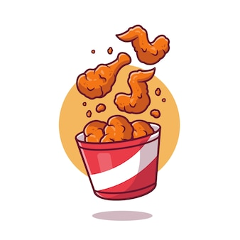 Flying fried chicken with bucket cartoon