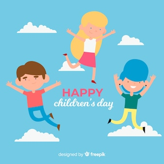Flying friends childrens day background