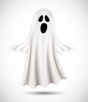 Летающий призрак на белом фоне. подходит для фона хэллоуина, плаката, баннера и флаера