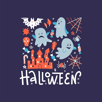 Flying ghost spirit greeting card. happy halloween square banner. cute cartoon spooky character. hand drawn illustration.