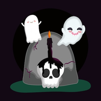 Flying ghosts gravestone skull candle halloween