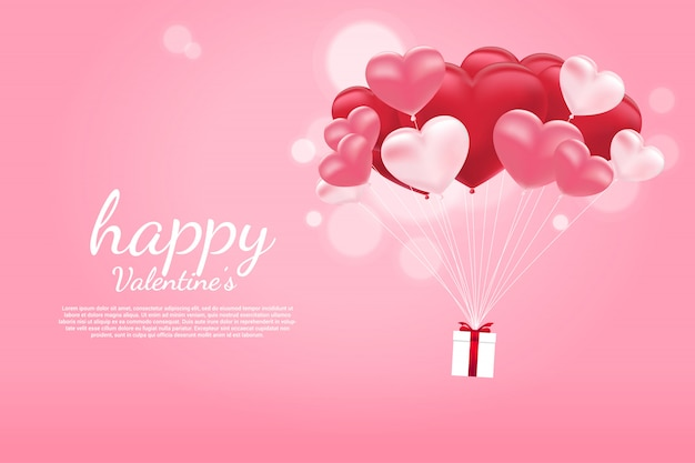 Flying gift box with heart balloon