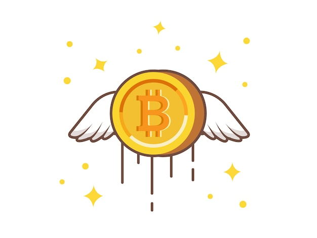 Flying gold bitcoin vector icon illustration