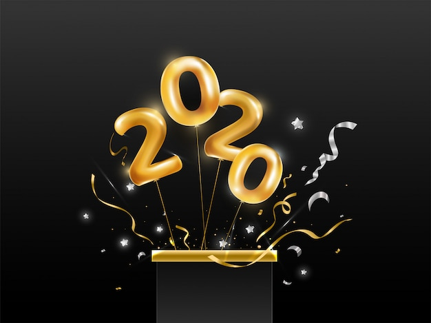 Flying golden balloon number of 2020 from surprise gift box with stars and confetti ribbon on black background.