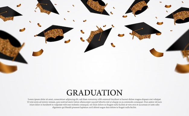 Flying golden graduation caps with gold confetti on the air for colleges